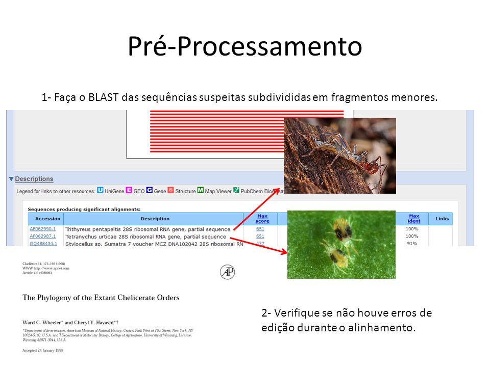 Pré-Processamento 1- Faça o BLAST das sequências suspeitas subdivididas em fragmentos menores. 2- Verifique se não houve erros de edição durante o ali