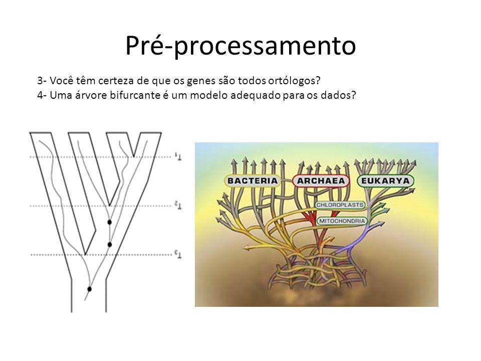 Pré-processamento 3- Você têm certeza de que os genes são todos ortólogos? 4- Uma árvore bifurcante é um modelo adequado para os dados?