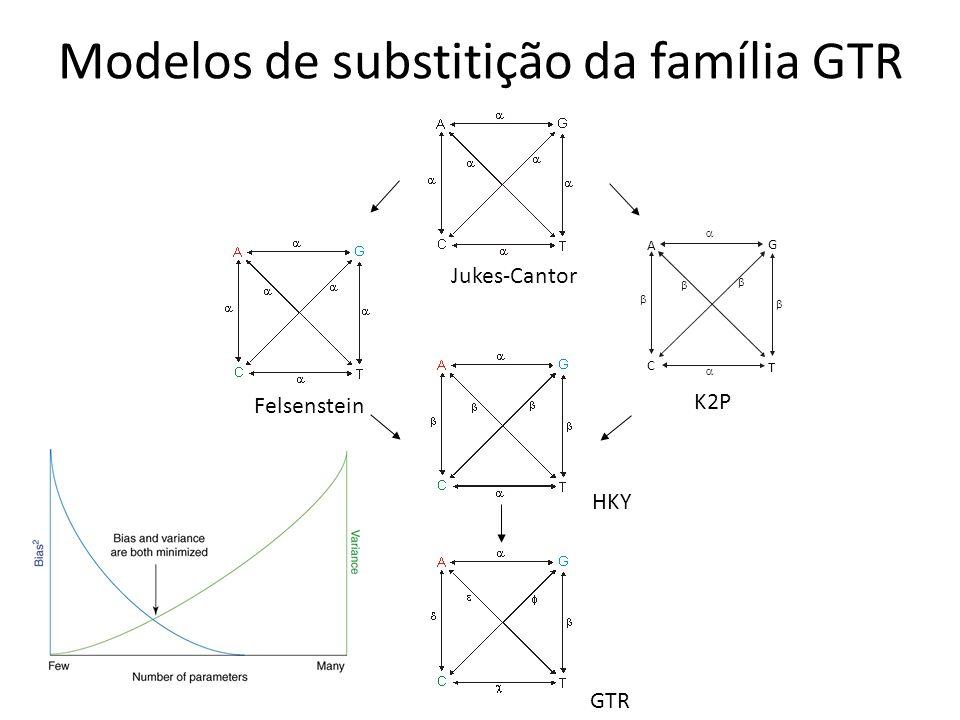 Modelos de substitição da família GTR GTR HKY A C T G Jukes-Cantor Felsenstein K2P