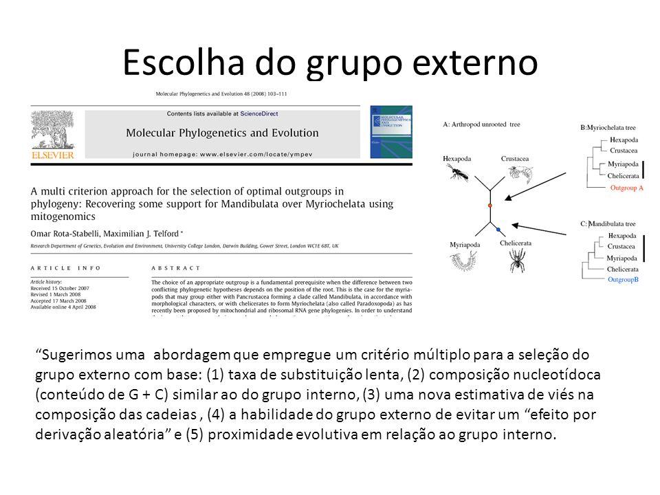 Escolha do grupo externo Sugerimos uma abordagem que empregue um critério múltiplo para a seleção do grupo externo com base: (1) taxa de substituição