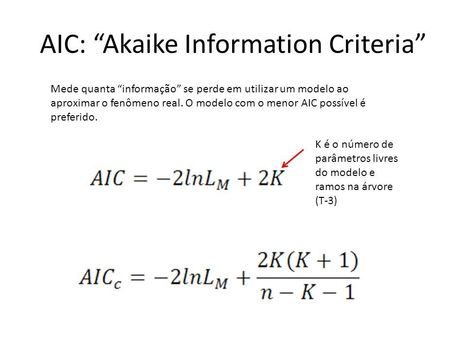 AIC: Akaike Information Criteria Mede quanta informação se perde em utilizar um modelo ao aproximar o fenômeno real. O modelo com o menor AIC possível