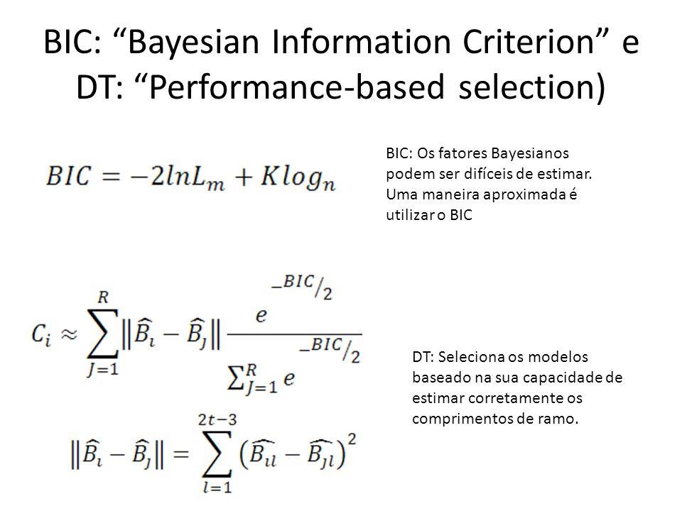 Levando em conta a incerteza dos modelos na incerteza das inferências A vantagem de métodos como AIC, BIC e DT é que podemos ranquear os modelos, ao invés de compará-los dois a dois, como fazemos com os fatores Bayesianos e hLRTs.
