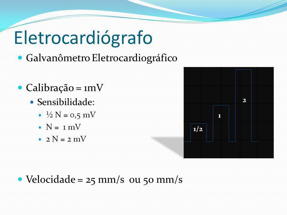 Eletrocardiógrafo Galvanômetro Eletrocardiográfico Calibração = 1mV Sensibilidade: ½ N = 0,5 mV N = 1 mV 2 N = 2 mV Velocidade = 25 mm/s ou 50 mm/s 1/