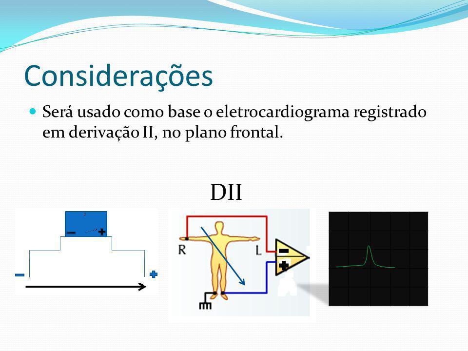 Considerações Será usado como base o eletrocardiograma registrado em derivação II, no plano frontal. DII