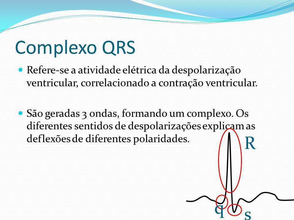 Complexo QRS Refere-se a atividade elétrica da despolarização ventricular, correlacionado a contração ventricular. São geradas 3 ondas, formando um co