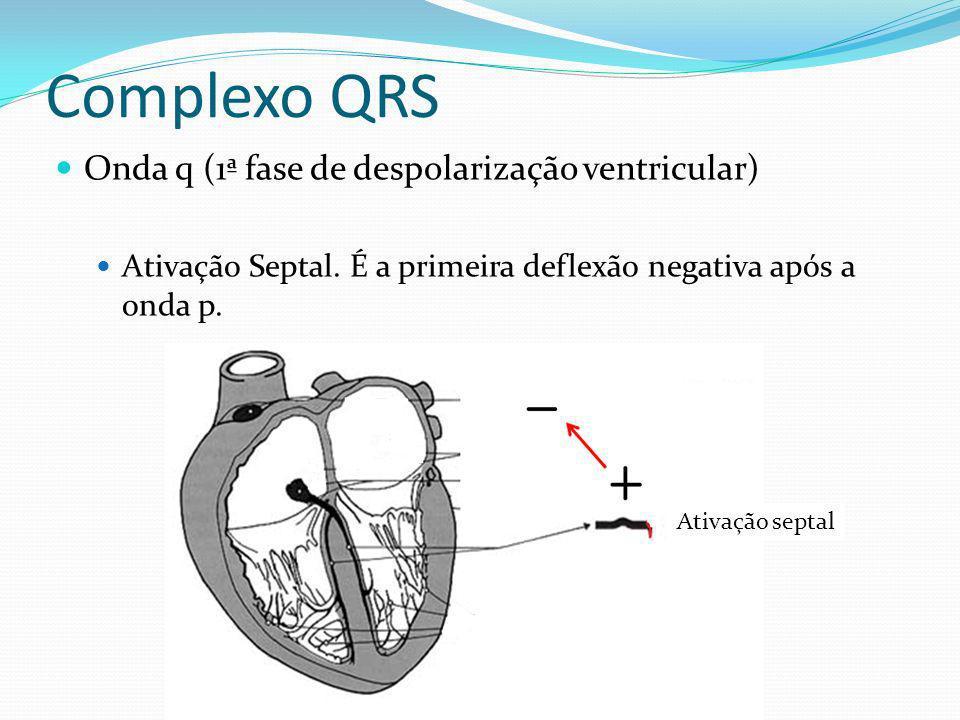 Complexo QRS Onda q (1ª fase de despolarização ventricular) Ativação Septal. É a primeira deflexão negativa após a onda p. Ativação septal