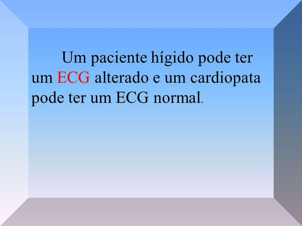 Indicações para realização de eletrocardiografia Arritmias Distúrbios de condução Distúrbios de excitação Monitoração de terapias medicamentosas Distúrbios eletrolíticos Hipóxia, isquemia de miocárdio Efusão pericárdica Indício indireto de aumento de câmaras cardíacas