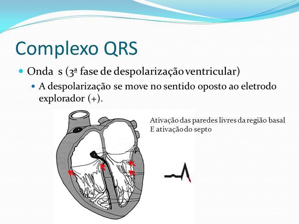 Complexo QRS Onda s (3ª fase de despolarização ventricular) A despolarização se move no sentido oposto ao eletrodo explorador (+). Ativação das parede