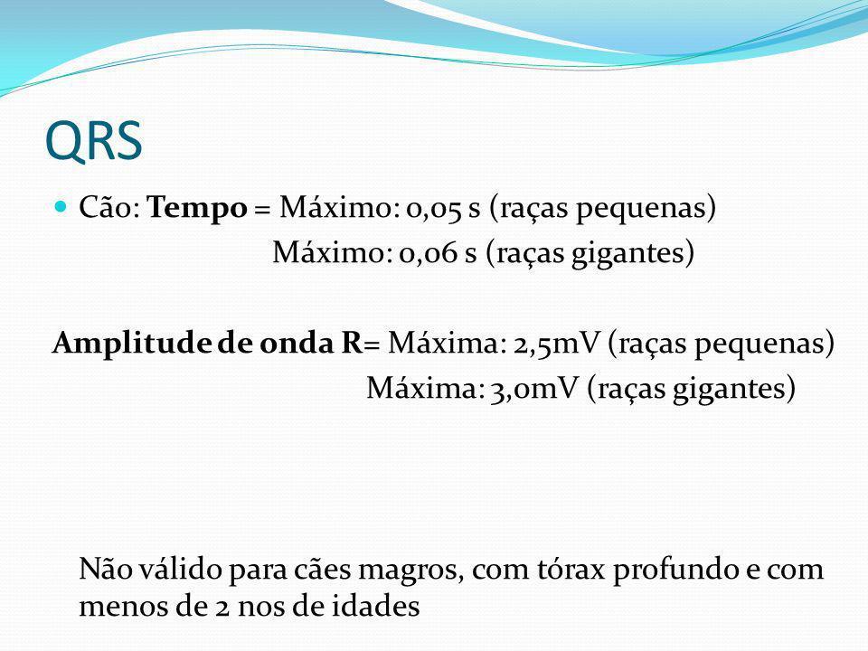 QRS Cão: Tempo = Máximo: o,05 s (raças pequenas) Máximo: 0,06 s (raças gigantes) Amplitude de onda R= Máxima: 2,5mV (raças pequenas) Máxima: 3,0mV (ra