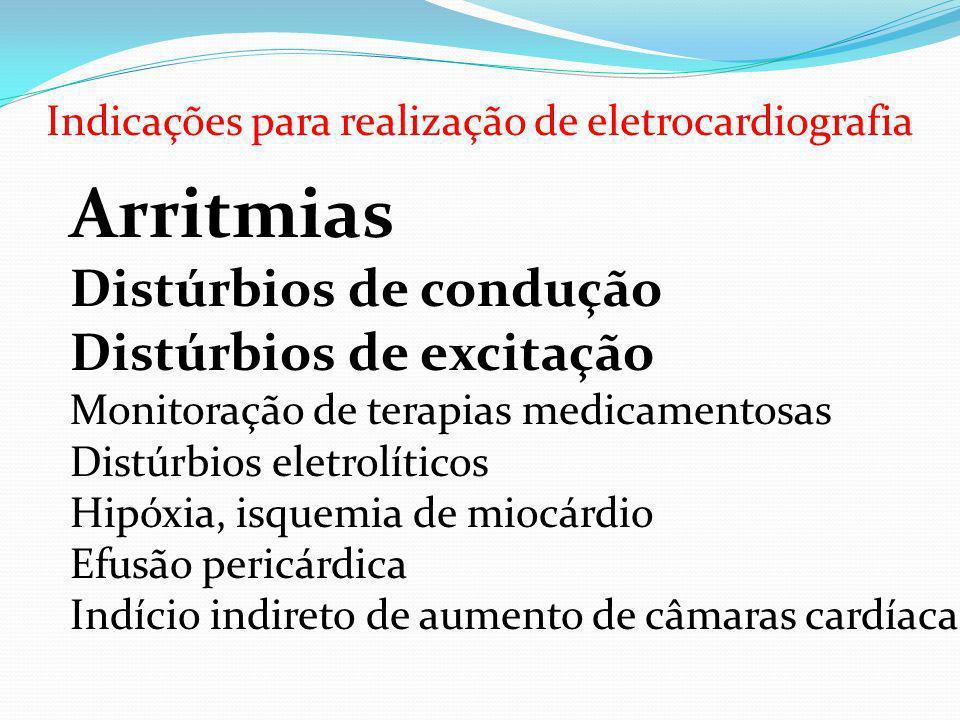 Indicações para realização de eletrocardiografia Arritmias Distúrbios de condução Distúrbios de excitação Monitoração de terapias medicamentosas Distú