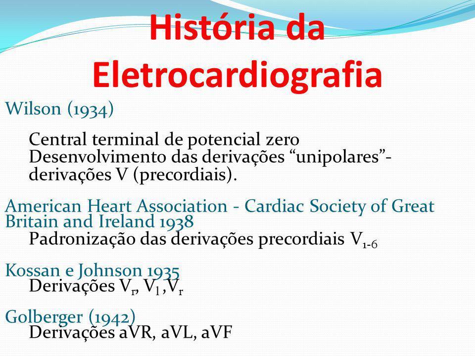 Wilson (1934) Central terminal de potencial zero Desenvolvimento das derivações unipolares- derivações V (precordiais). American Heart Association - C