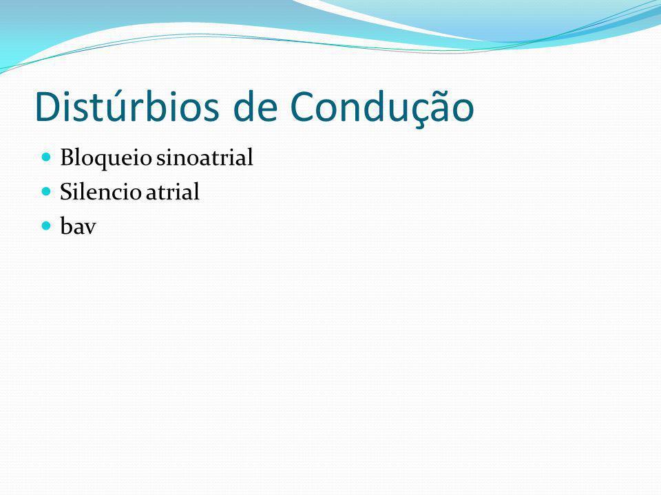 Distúrbios de Condução Bloqueio sinoatrial Silencio atrial bav