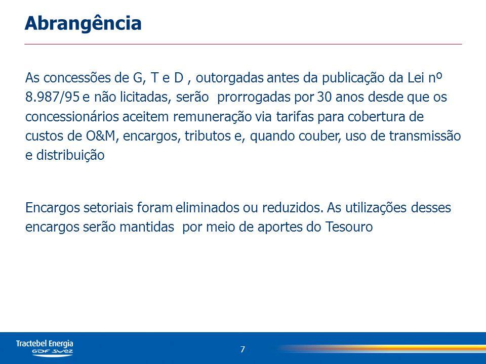 As concessões de G, T e D, outorgadas antes da publicação da Lei nº 8.987/95 e não licitadas, serão prorrogadas por 30 anos desde que os concessionári