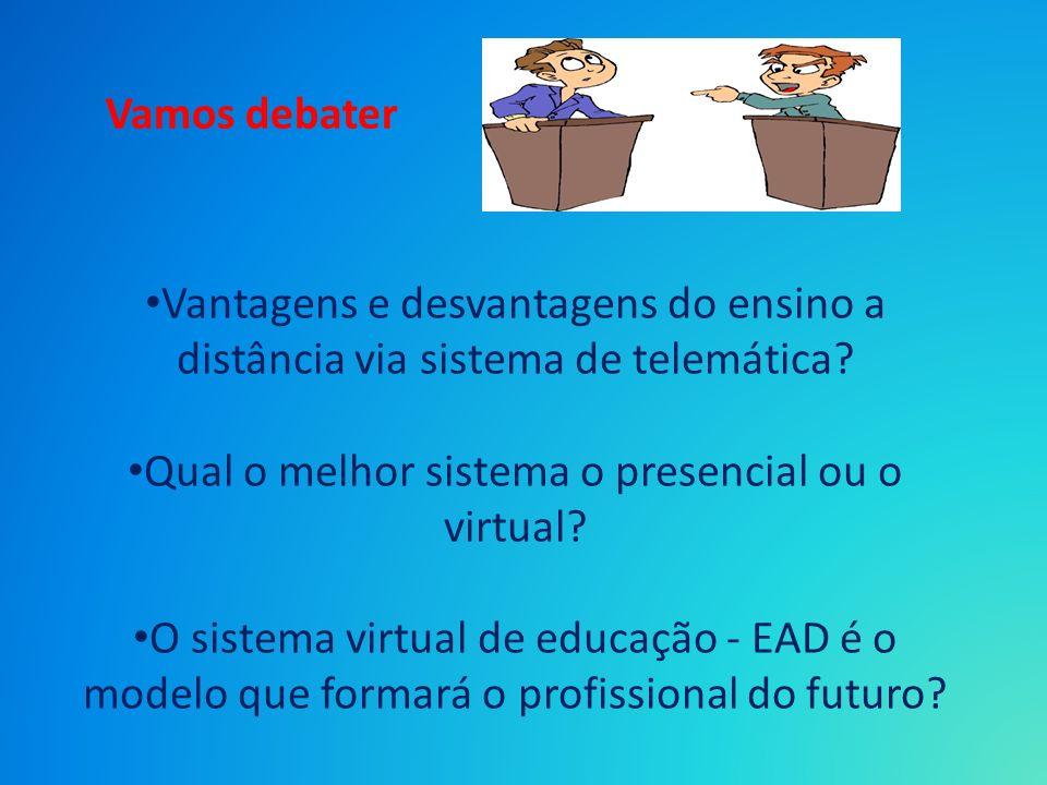 Vantagens e desvantagens do ensino a distância via sistema de telemática? Qual o melhor sistema o presencial ou o virtual? O sistema virtual de educaç