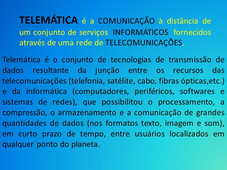 TELEMÁTICA é a COMUNICAÇÃO à distância de um conjunto de serviços INFORMÁTICOS fornecidos através de uma rede de TELECOMUNICAÇÕES. Telemática é o conj