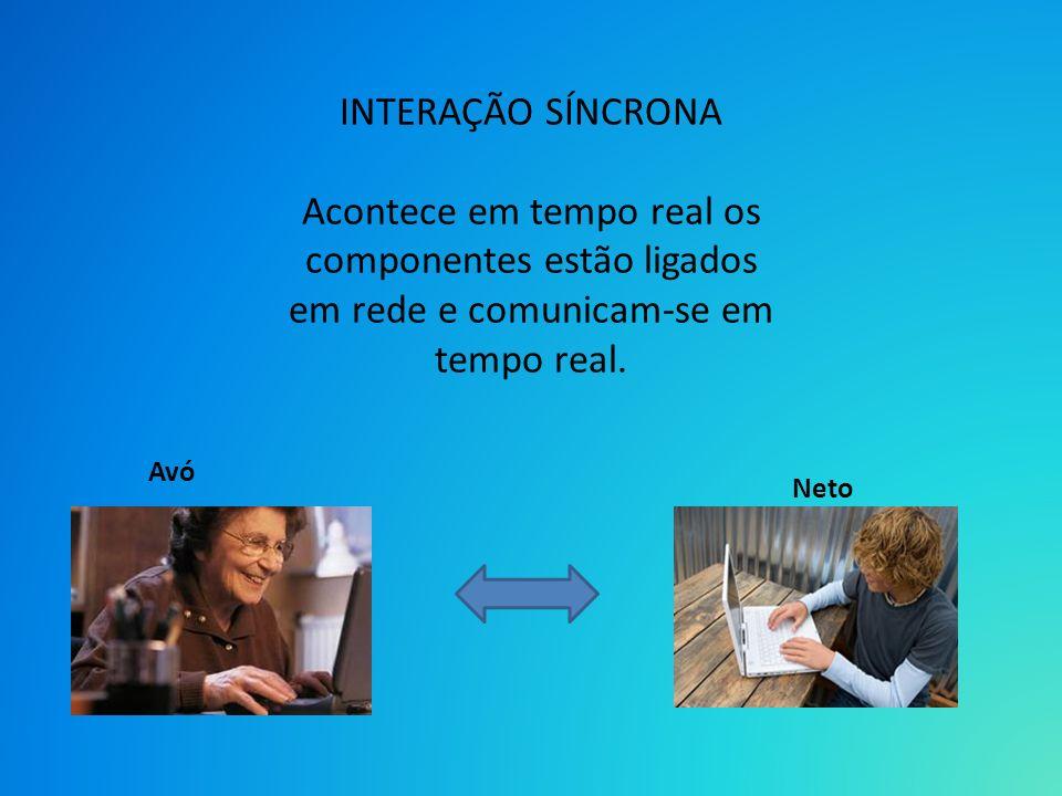 INTERAÇÃO SÍNCRONA Acontece em tempo real os componentes estão ligados em rede e comunicam-se em tempo real. Avó Neto
