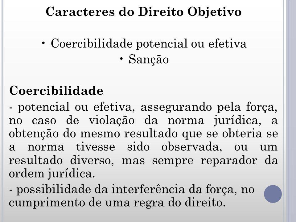 Caracteres do Direito Objetivo Coercibilidade potencial ou efetiva Sanção Coercibilidade - potencial ou efetiva, assegurando pela força, no caso de vi
