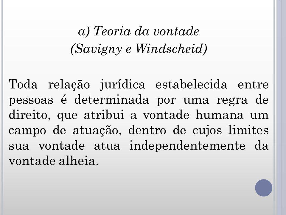 a) Teoria da vontade (Savigny e Windscheid) Toda relação jurídica estabelecida entre pessoas é determinada por uma regra de direito, que atribui a von