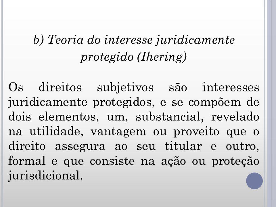b) Teoria do interesse juridicamente protegido (Ihering) Os direitos subjetivos são interesses juridicamente protegidos, e se compõem de dois elemento