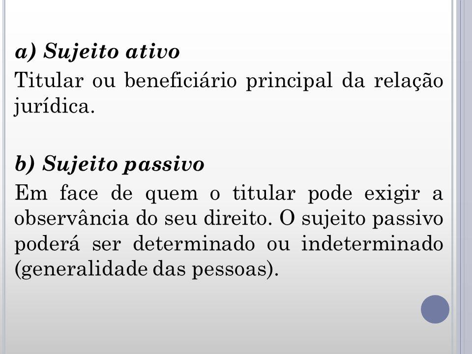a) Sujeito ativo Titular ou beneficiário principal da relação jurídica. b) Sujeito passivo Em face de quem o titular pode exigir a observância do seu