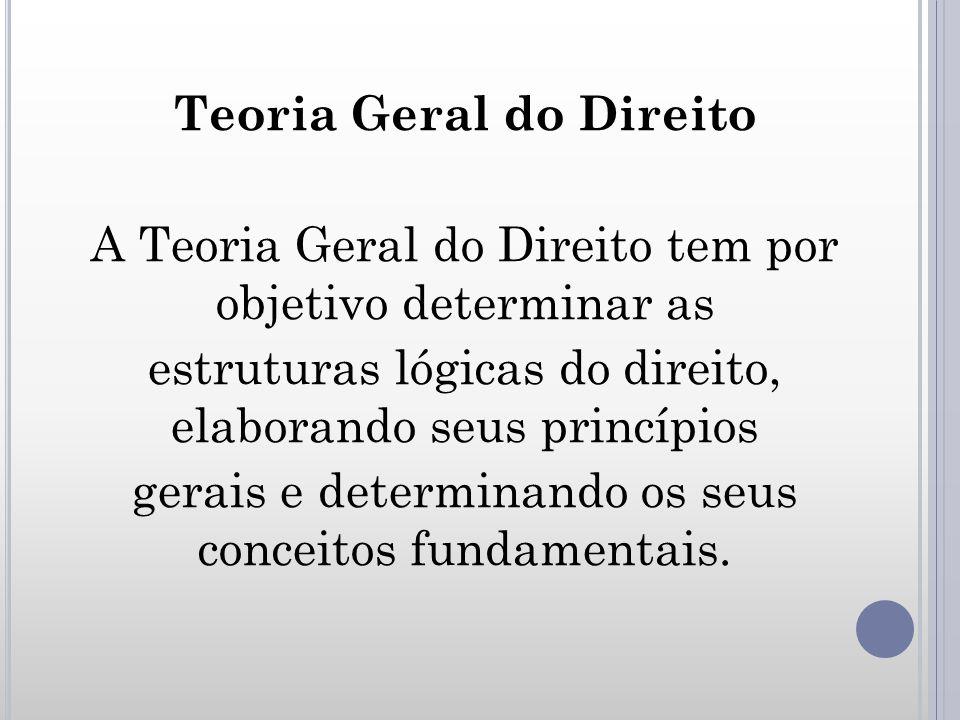 Teoria Geral do Direito A Teoria Geral do Direito tem por objetivo determinar as estruturas lógicas do direito, elaborando seus princípios gerais e de
