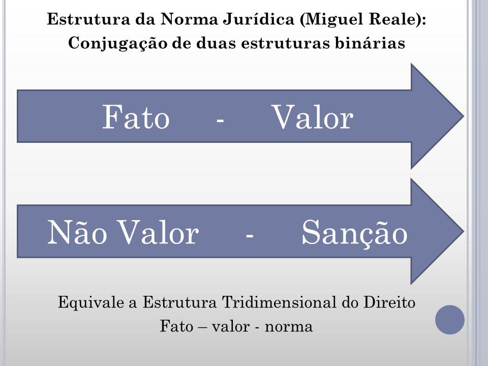 Estrutura da Norma Jurídica (Miguel Reale): Conjugação de duas estruturas binárias Equivale a Estrutura Tridimensional do Direito Fato – valor - norma