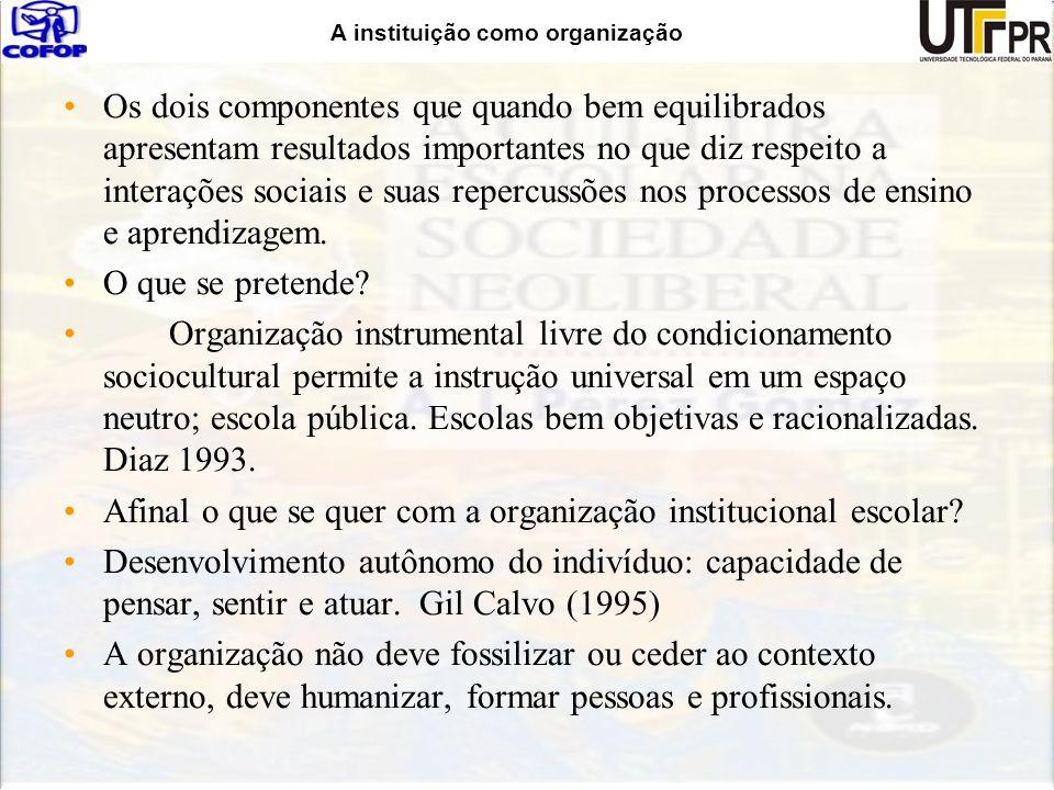 A instituição como organização Os dois componentes que quando bem equilibrados apresentam resultados importantes no que diz respeito a interações soci