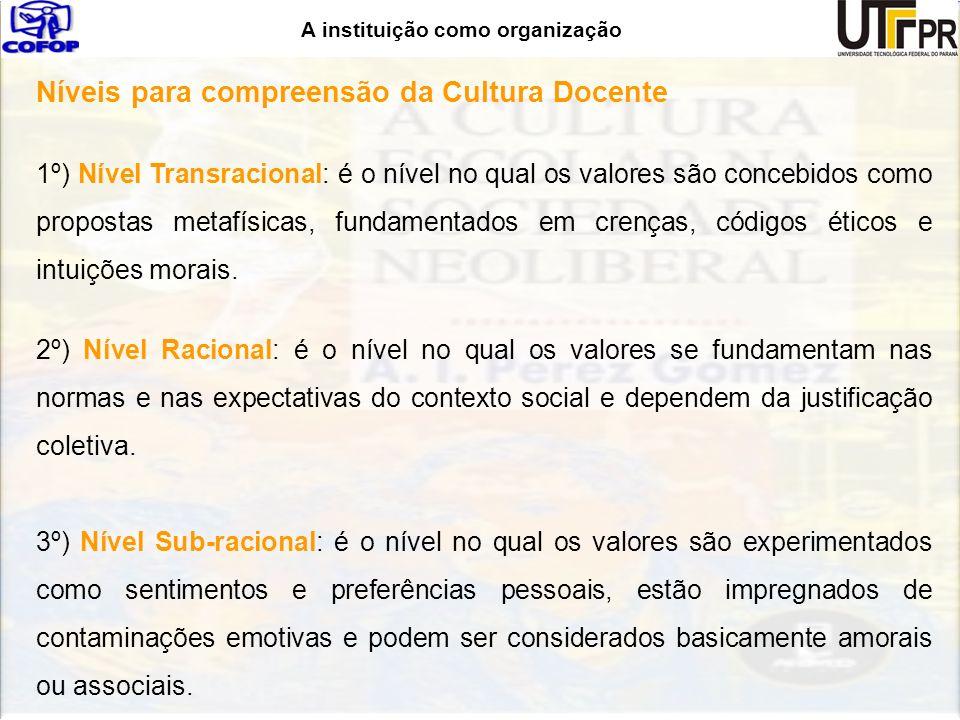 A instituição como organização Níveis para compreensão da Cultura Docente 1º) Nível Transracional: é o nível no qual os valores são concebidos como pr