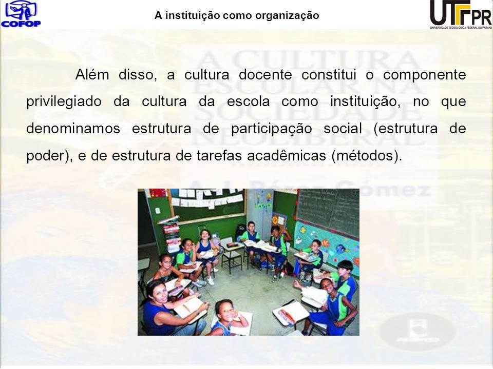 A instituição como organização Além disso, a cultura docente constitui o componente privilegiado da cultura da escola como instituição, no que denomin