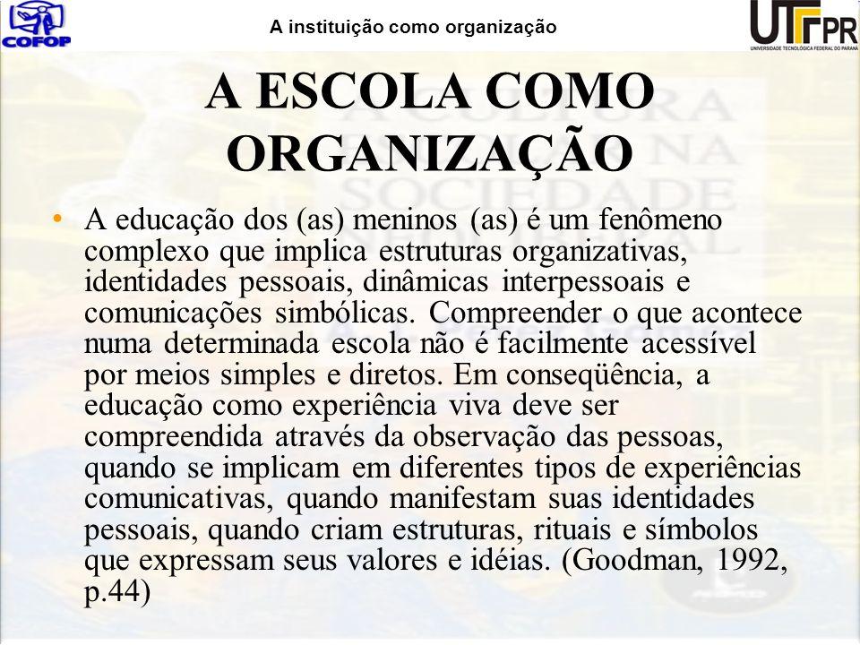 A instituição como organização Determinação e Manutenção inúmeros fatores e agentes; deriva prioritariamente da cultura dos professores como grupo social ou grêmio profissional; A Cultura da Escola