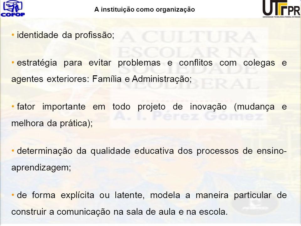 A instituição como organização identidade da profissão; estratégia para evitar problemas e conflitos com colegas e agentes exteriores: Família e Admin