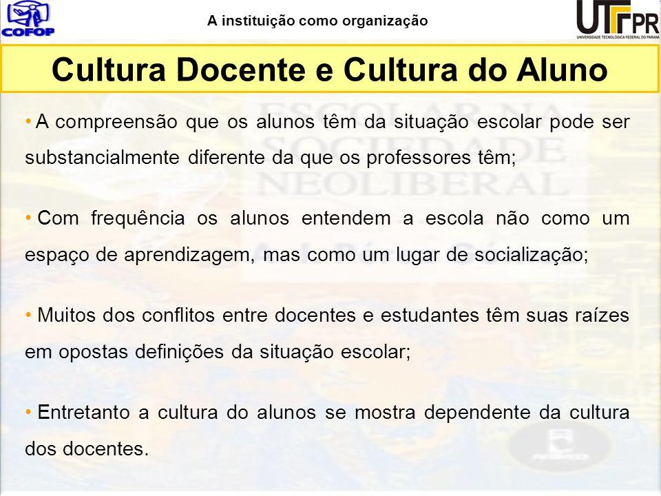A instituição como organização Cultura Docente e Cultura do Aluno A compreensão que os alunos têm da situação escolar pode ser substancialmente difere