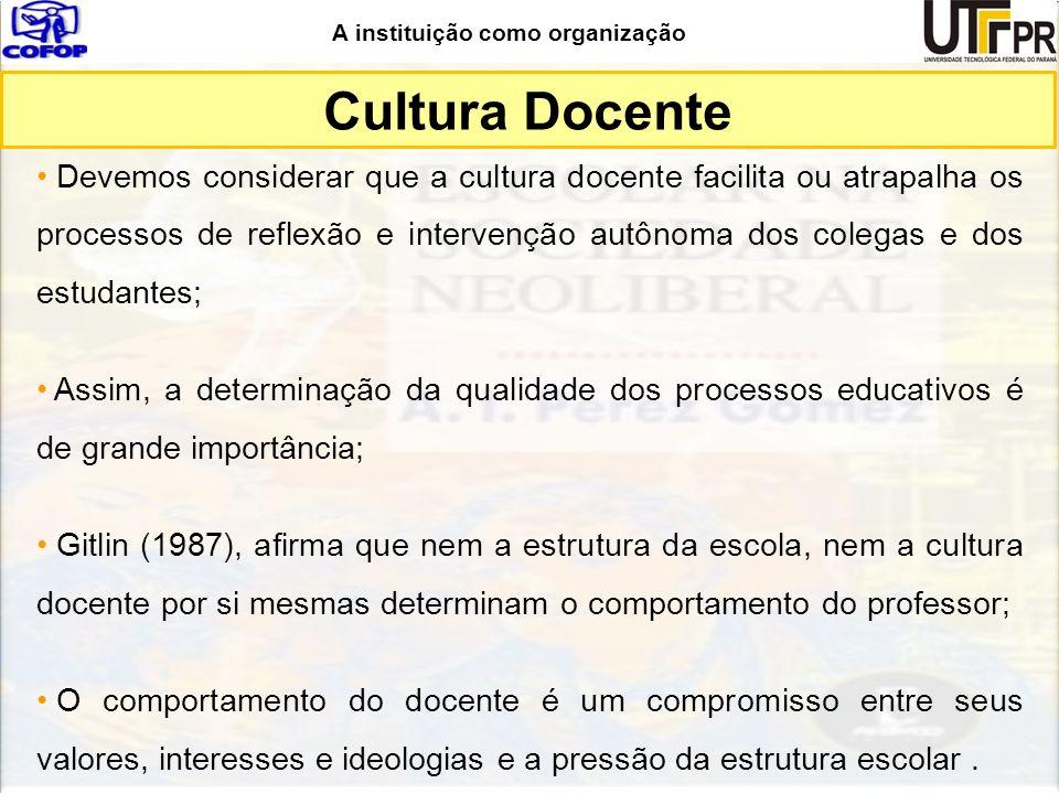 A instituição como organização Cultura Docente Devemos considerar que a cultura docente facilita ou atrapalha os processos de reflexão e intervenção a