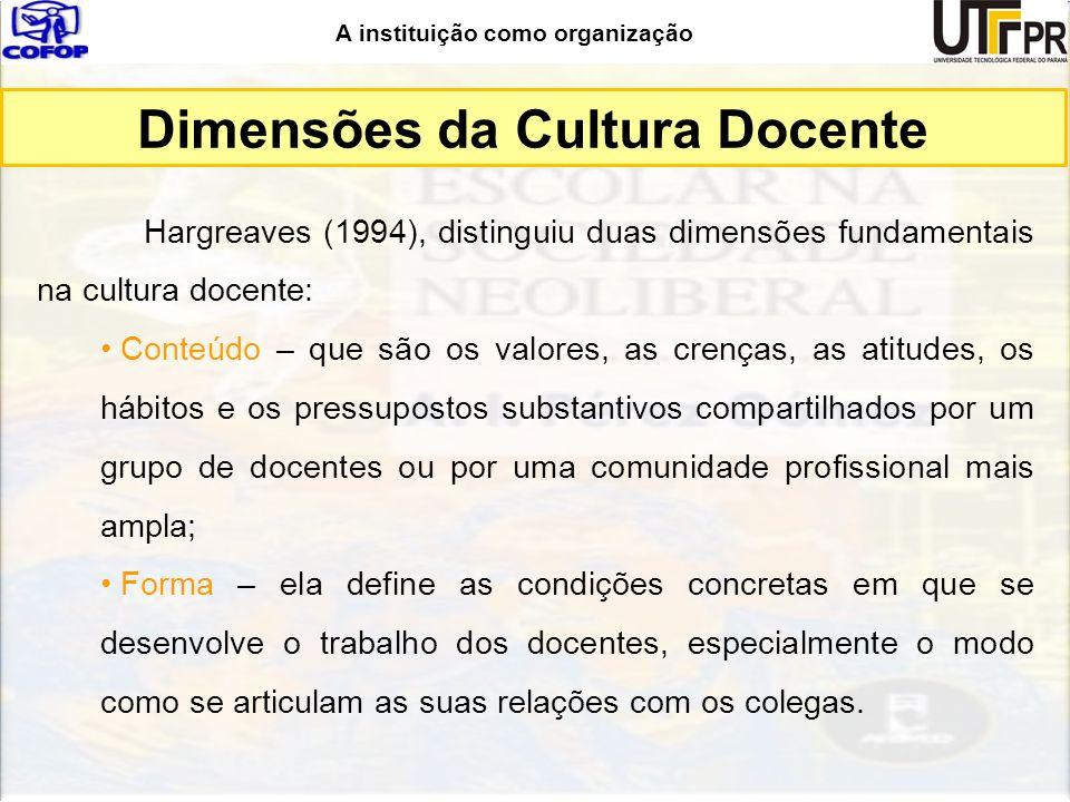 A instituição como organização Dimensões da Cultura Docente Hargreaves (1994), distinguiu duas dimensões fundamentais na cultura docente: Conteúdo – q