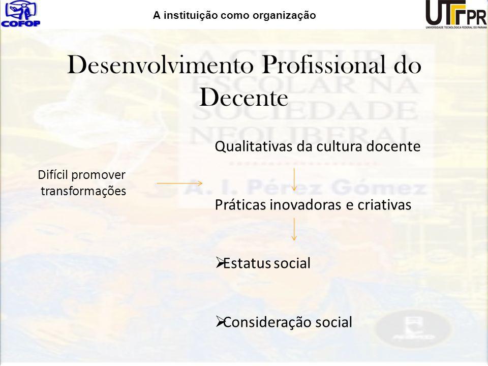 A instituição como organização Desenvolvimento Profissional do Decente Difícil promover transformações Qualitativas da cultura docente Práticas inovad