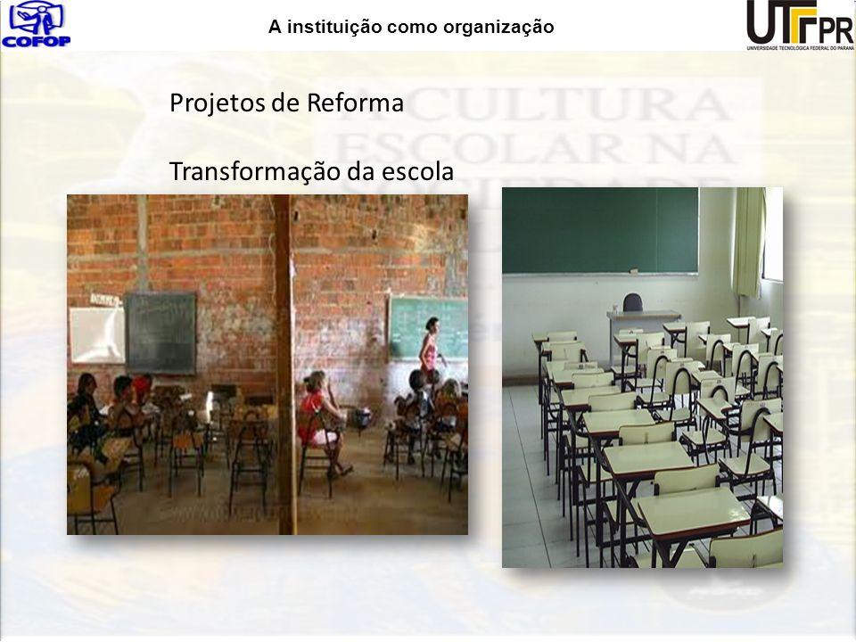 A instituição como organização Projetos de Reforma Transformação da escola
