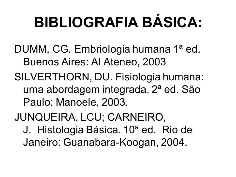 BIBLIOGRAFIA BÁSICA: DUMM, CG. Embriologia humana 1ª ed. Buenos Aires: Al Ateneo, 2003 SILVERTHORN, DU. Fisiologia humana: uma abordagem integrada. 2ª