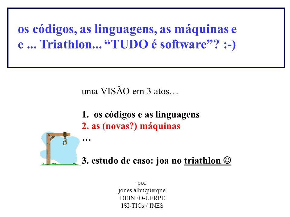 os códigos, as linguagens, as máquinas e e... Triathlon... TUDO é software? :-) uma VISÃO em 3 atos… 1. os códigos e as linguagens 2. as (novas?) máqu