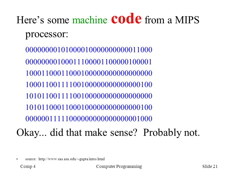 Comp 4Computer ProgrammingSlide 21 Heres some machine code from a MIPS processor: 00000000101000010000000000011000 00000000100011100001100000100001 10
