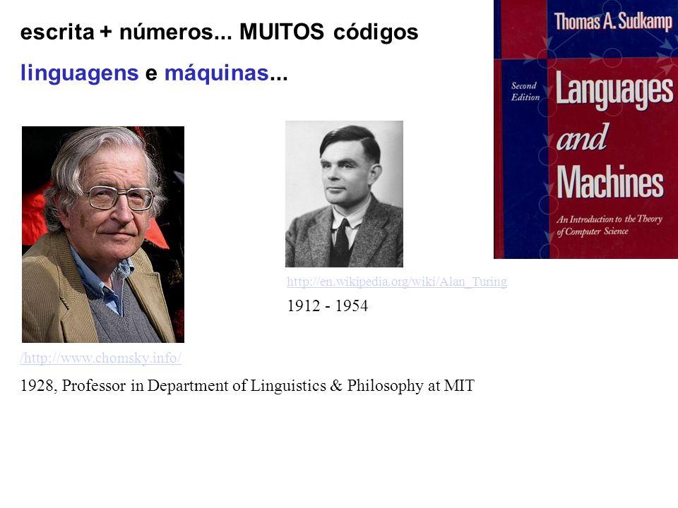 escrita + números... MUITOS códigos linguagens e máquinas... /http://www.chomsky.info/ 1928, Professor in Department of Linguistics & Philosophy at MI