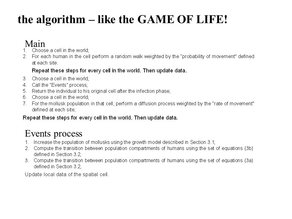 the algorithm – like the GAME OF LIFE! Events process Main