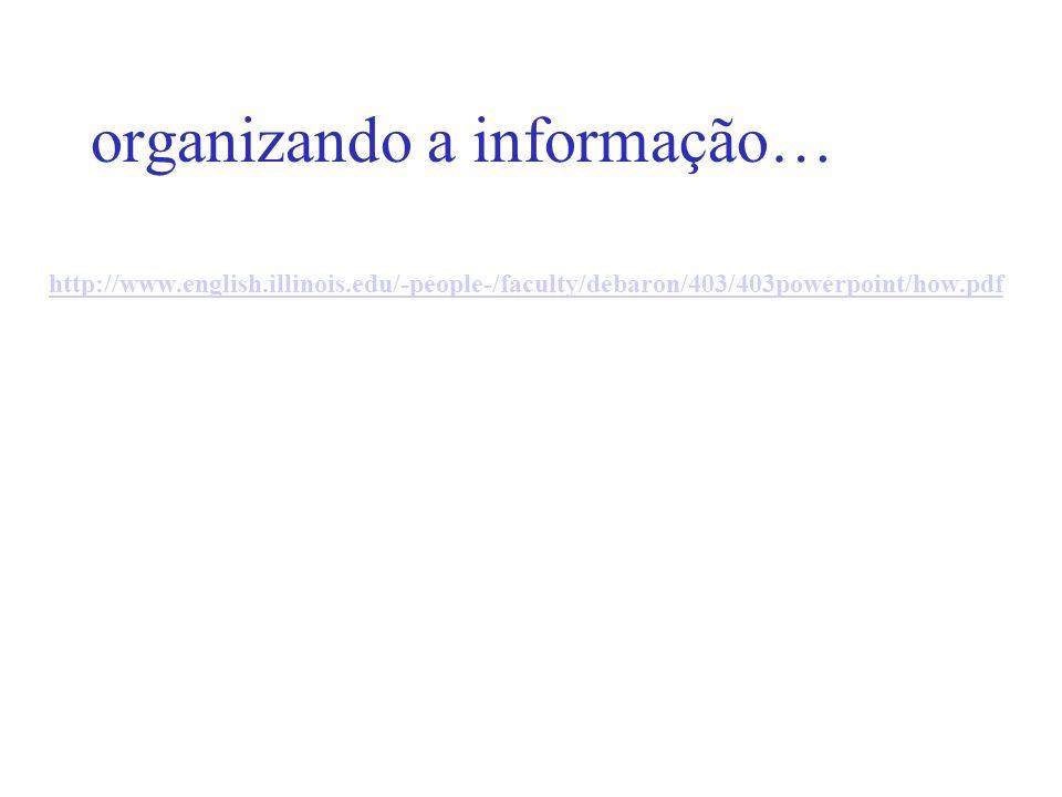 organizando a informação… http://www.english.illinois.edu/-people-/faculty/debaron/403/403powerpoint/how.pdf