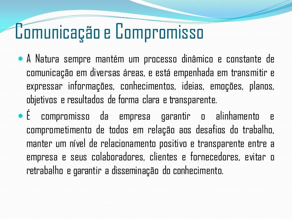 Comunicação e Compromisso A Natura sempre mantém um processo dinâmico e constante de comunicação em diversas áreas, e está empenhada em transmitir e e