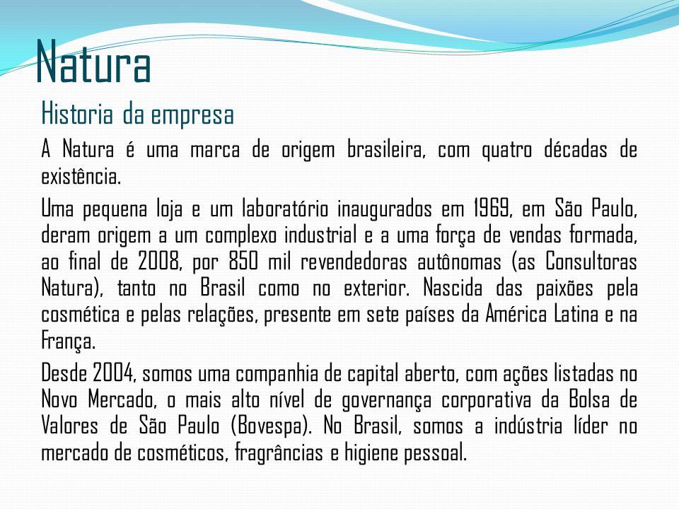 Natura Historia da empresa A Natura é uma marca de origem brasileira, com quatro décadas de existência. Uma pequena loja e um laboratório inaugurados