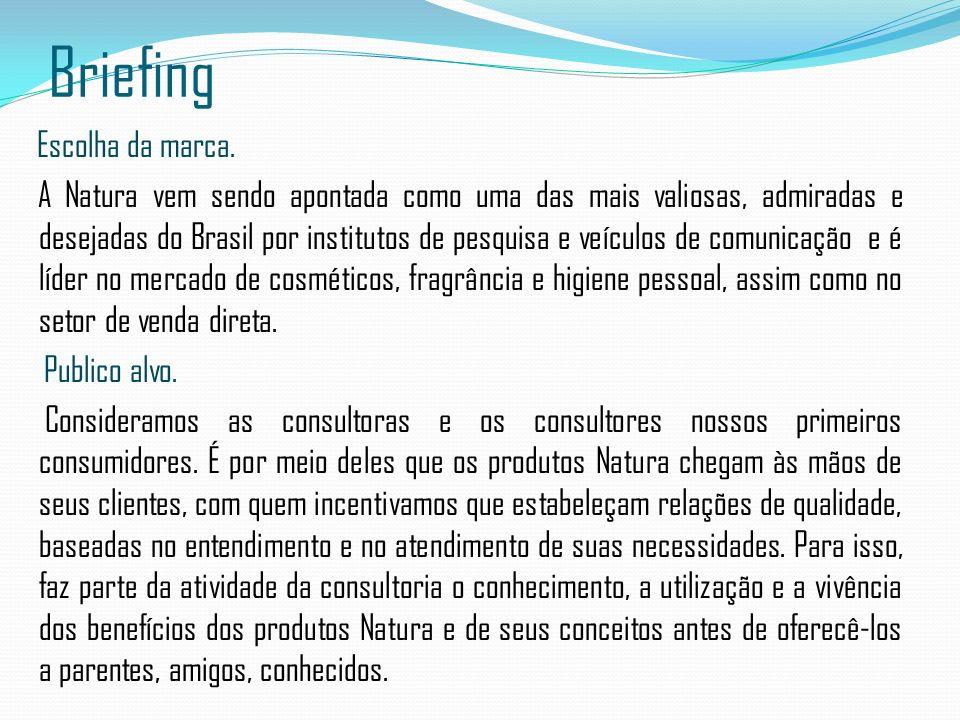 Briefing Escolha da marca. A Natura vem sendo apontada como uma das mais valiosas, admiradas e desejadas do Brasil por institutos de pesquisa e veícul