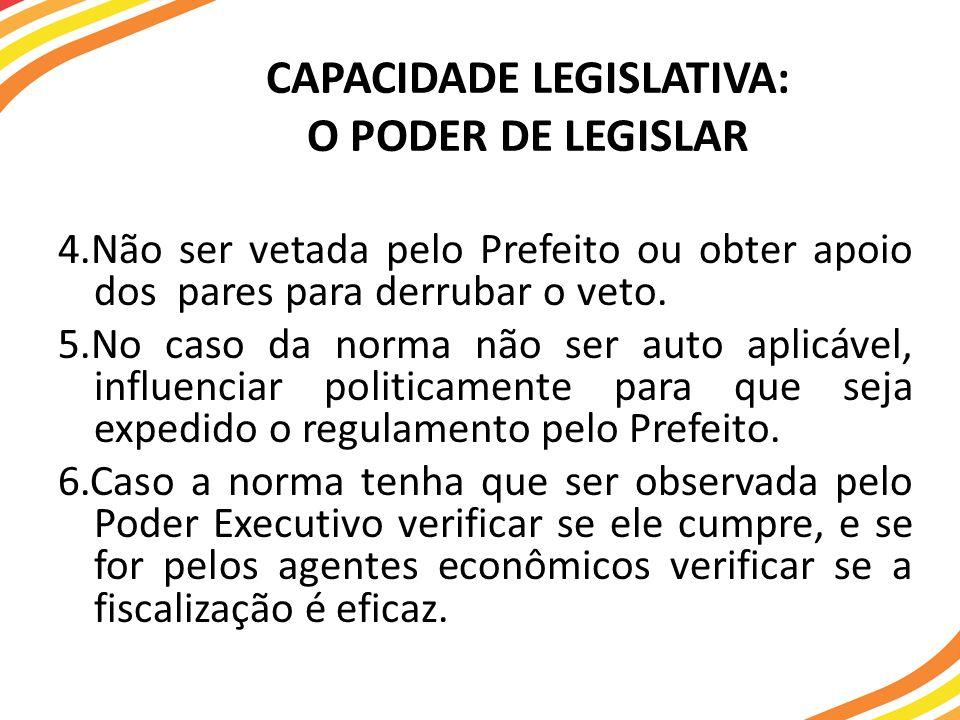 CAPACIDADE LEGISLATIVA: O PODER DE LEGISLAR 4.Não ser vetada pelo Prefeito ou obter apoio dos pares para derrubar o veto. 5.No caso da norma não ser a