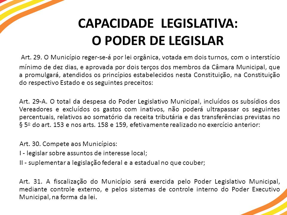 CAPACIDADE LEGISLATIVA: O PODER DE LEGISLAR Art.29.