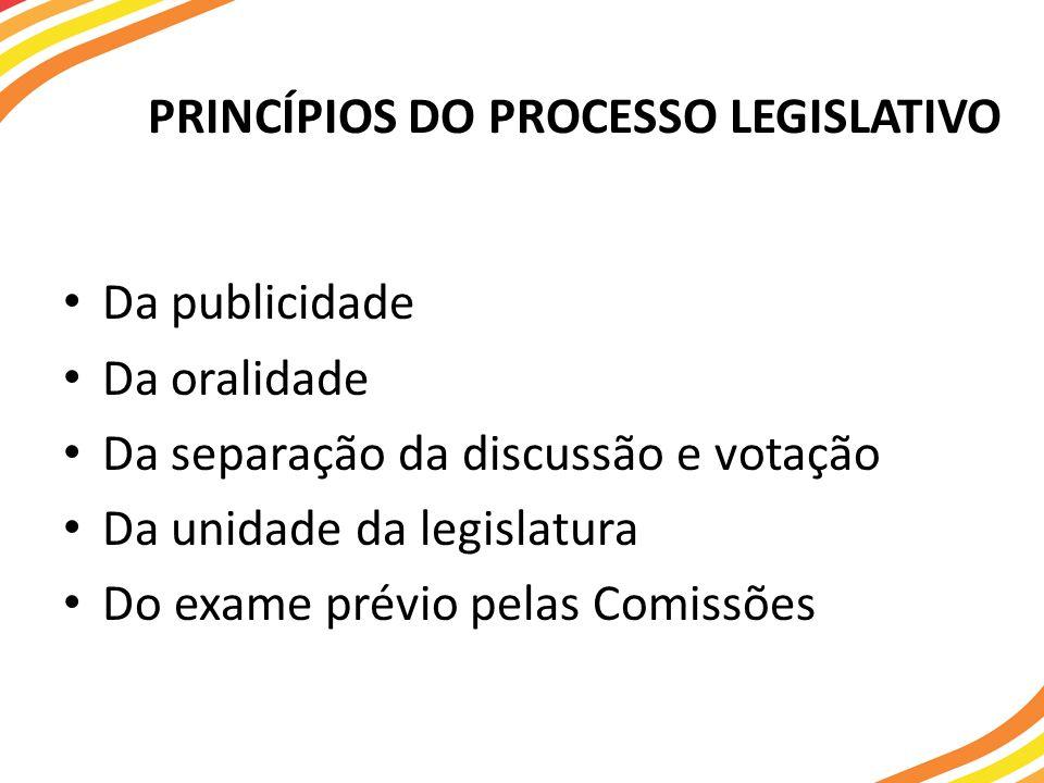 PRINCÍPIOS DO PROCESSO LEGISLATIVO Da publicidade Da oralidade Da separação da discussão e votação Da unidade da legislatura Do exame prévio pelas Comissões