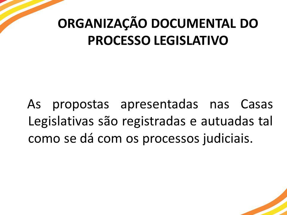 ORGANIZAÇÃO DOCUMENTAL DO PROCESSO LEGISLATIVO As propostas apresentadas nas Casas Legislativas são registradas e autuadas tal como se dá com os proce