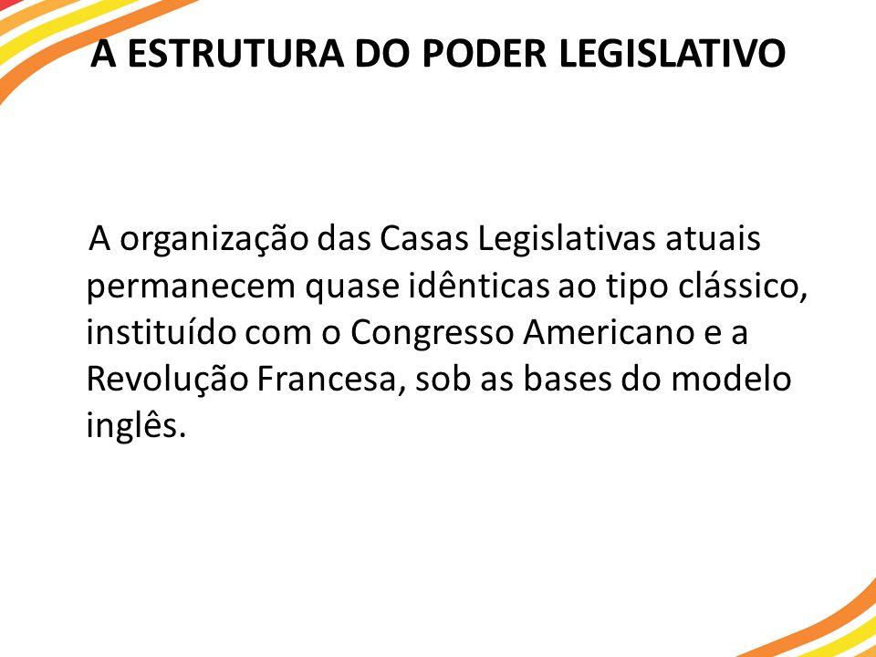 A ESTRUTURA DO PODER LEGISLATIVO A organização das Casas Legislativas atuais permanecem quase idênticas ao tipo clássico, instituído com o Congresso A